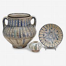 Mamluk underglaze painted pottery vase, Syria, circa 14th century