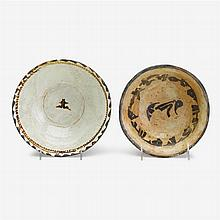 Two Nishapur slip-painted pottery bowls, Persia, circa 10th century A.D.