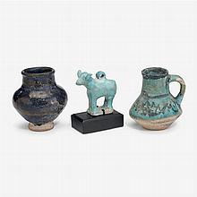 Three Persian pottery pieces, Persia and Syria, circa 12th-14th century A.D.