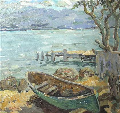 ALBERT HUIE, (JAMAICAN 1920-2010), CANOE BY A DOCK