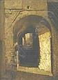 WILLIAM SARTAIN (American 1843-1924) SHADOWS BY AN ARCHWAY, William Sartain, Click for value