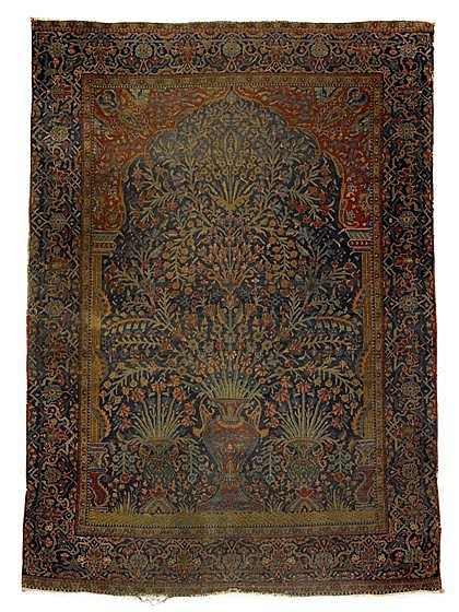Two Kashan prayer rugs, central persia, circa 1st quarter 20th century,