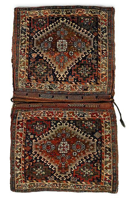 Pair of Qashqa'i bags, southwest persia, circa 1900,