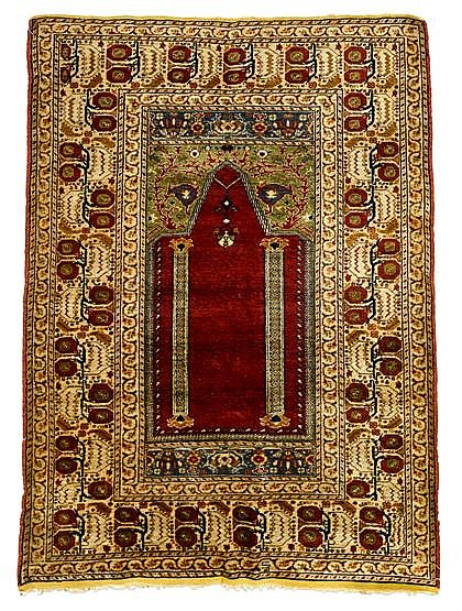 Silk Keyseri prayer rug, central anatolia, circa early 20th century,