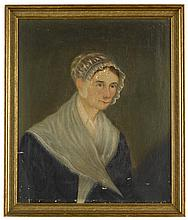 American School 19th century, portrait of a lady in cap and shawl, oil on canvas, framed,