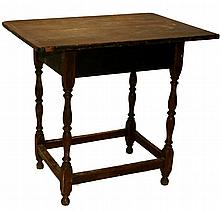 William and Mary pine and maple tavern table, new england, early 19th century,