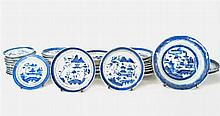 Collection of thirty-six Chinese Export porcelain Canton saucers and small plates, 19th century and later,