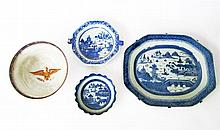 Three Chinese Export porcelain Canton serving pieces and a reproduction Chinese Export porcelain Eagle-decorated bowl, 19th century and