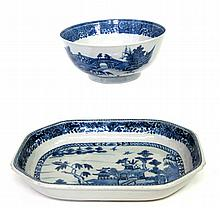 Chinese Export Porcelain Canton punch bowl and platter, 19th century,