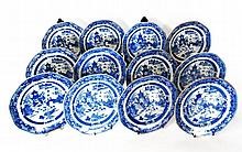 Set of twelve Chinese Export porcelain blue and white Nanking plates, 19th century,