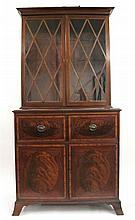 Federal inlaid mahogany secretary bookcase, early 19th century,