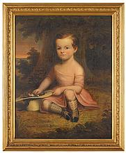 American School 19th century, portrait of a young boy, possibly george seckel, oil on canvas, framed,