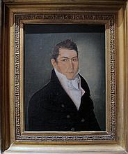 American School 19th century, portrait of a young man, circa 1825, oil on canvas laid on board, framed,