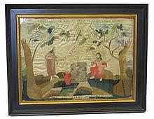 Framed silkwork picture: silk threads and watercolor on satin ground,