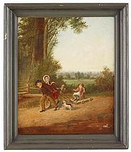 Howard L. Hill (d. 1870), a walk through the woods, oil on artist's board, painted frame.,