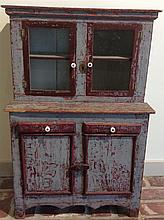 Three miniature painted stepback cupboards, ,