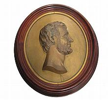 Framed bronze on brass relief profile portrait of Abraham Lincoln, sculptor: f. simmons, executed by w. miller, n. york, second half 19
