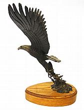 Wayne Lewis (20th century), bronze sculpture of an eagle and its prey, Signed and copyrighted,