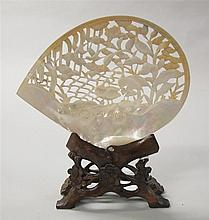 Japanese shell carving and stand, ,