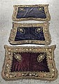 Three embroidered velvet saddle cloths, possibly ottoman, late 19th century,