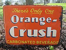 Vintage Orange Crush Embossed Metal Advertising Sign