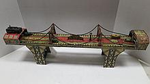 Vintage Tin Lithograph Toy Busy Bridge by Louis Marx & Co USA