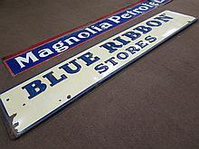 Porcelain Blue Ribbon Stores Embossed Lettered Advertising Sign