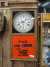 Oak Cased Sessions Wall Clock with Reproduction Ad Glass Orange Crush