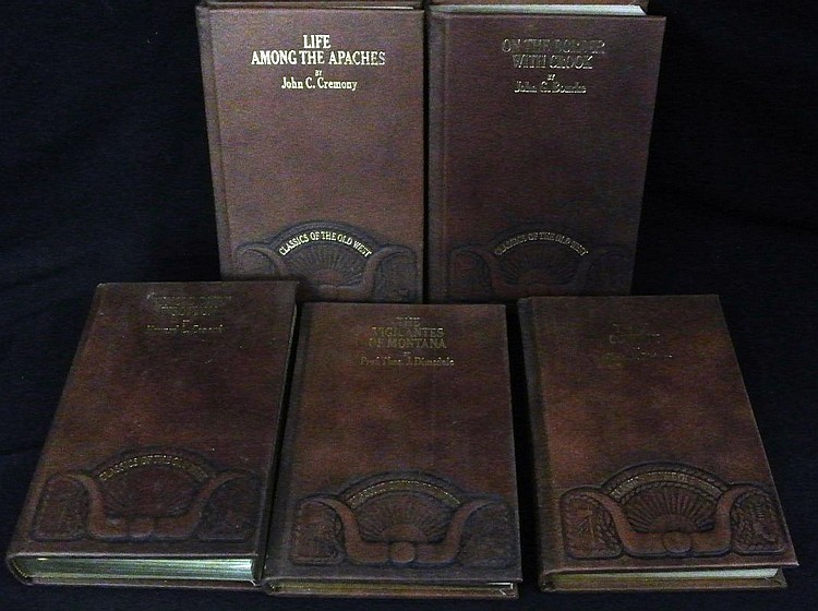 (5)Classics of the Old West Leather Bound Books