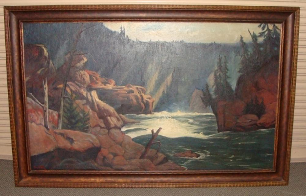 Hans H. Volck Cleveland School Oil On Canvas Raging River 36