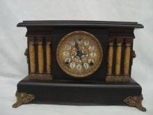 Antique Wood Ornate Sessions Pillar Mantel Clock