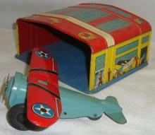 1930's Marx Tin Litho Airplane and Hanger