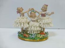 Sitzendorf Lace and Floral 3 Little Girls Porcelain Figurine