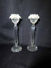 Swarovski Crystal Frosted Floral Top Candlesticks