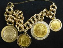 21KT Gold Bracelt with Gold Coin Charms & Medals