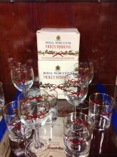 Royal Worcester Holly Ribbons Stems And Glasses