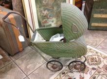Vintage Wicker Baby Buggy