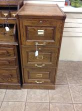 Vintage Oak 3 Drawer Filing Cabinet