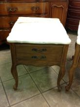 Vintage Side Table With Marble Top