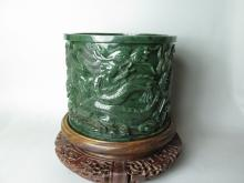 Spinach jade brush pot.