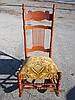 SOLID CHERRY CLOTH SEAT ROCKER CARVED WITH SPINDLES - MINT