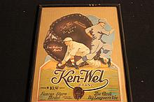 FANTASTIC BASEBALL KEN-WEL ADVERTISING FROM THE EARLY 1920S GLOVERSVILLE NEW YORK - 16.5 X 12.5