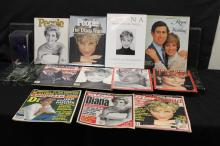PRINCESS DIANA COLLECTION INCLUDING 3 HARDCOVER BOOKS - 4 MAGAZINES & 3 PAPERS PLUS HER SPECIAL BEANIE BABY