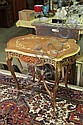 SIDE TABLE. Ornate table with gilt accents and inlay on cabriole legs. 26