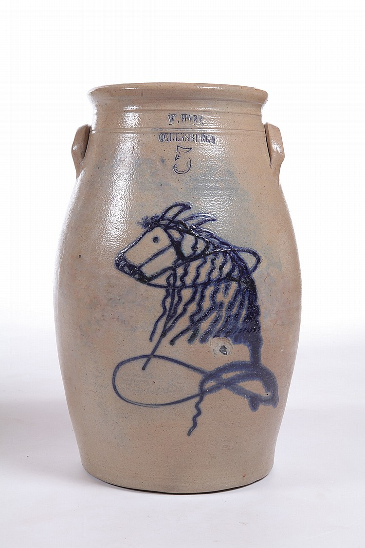 ****DECORATED STONEWARE CHURN.