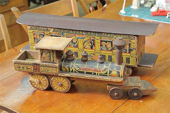 W.S. REED TOY TRAIN. Two part chromolithographed train with Jack & Jill engine and Mother Goose car. 39