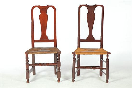 TWO COUNTRY QUEEN ANNE SIDE CHAIRS.