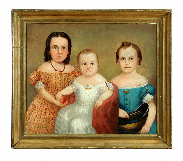PORTRAIT OF THREE CHILDREN (AMERICAN SCHOOL, MID 19TH CENTURY).