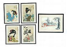 FIVE JAPANESE WOODBLOCK PRINTS.