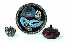 THREE PIECES INCLUDING CLOISONNE.